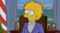 "In the season 11 episode ""Bart to the Future,"" future President Lisa Simpson and Secretary Van Houten discuss the debt former President Trump left them in."