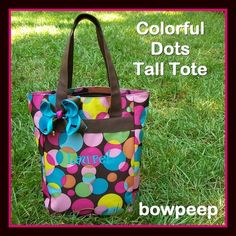 Colorful Brown Dots Monogrammed Tote Tall  Bookbag by bowpeep, $19.95