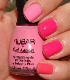 Index to pinkie: Nubar Pink Cream, OPI Hottie Pink, OPI DC Cherry Blossom, OPI Elephantastic Pink
