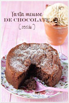 Tarta Mousse de Chocolate  Recetas Sin Azúcar | El blog sin azúcar Choco Chocolate, Sugar Free Recipes, Diabetic Recipes, Sin Gluten, Great Recipes, Cupcake Cakes, Bakery, Food Porn, Food And Drink