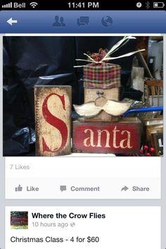 Santa blocks Check more at http://hrenoten.com Christmas Wood Crafts, Santa Crafts, Christmas Blocks, Christmas Signs, Primitive Christmas, Rustic Christmas, Christmas Projects, Christmas Home, Holiday Crafts