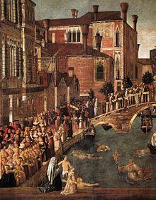 Miracolo della Croce caduta nel canale di San Lorenzo (dettagliio)