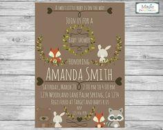 Invitación de ducha baby woodland woodland por MagicPartyDesigns