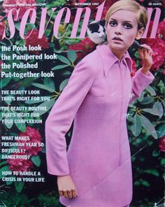 "theswinginsixties: "" Twiggy on the cover of Seventeen magazine, September "" 60s And 70s Fashion, Retro Fashion, Vintage Fashion, Gothic Fashion, Ladies Fashion, Seventeen Magazine, Vogue Magazine, Colleen Corby, Swinging London"