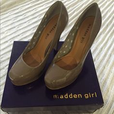Beautiful Nude Classic and Polished Pump Modern Madden Girl Shoes Platforms