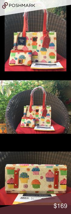 ♥️SALE♥️Dooney & Bourke cupcake shopper (2 piece) Cupcakes & no calories! White bag red leather straps. Great colors pink,green,orange, purple and blue.Super sweet ! Lots of room comes with wristlet .Key fob in bag and in wristlet. Must Have!💋 Dooney & Bourke Bags Shoulder Bags