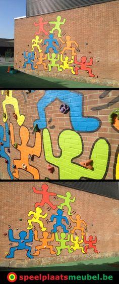 Leuk idee ivm een muurschildering op het schoolplein bij de Zonnetuin in Sint-Kruis (bij Brugge). Gecombineerd met klimgrepen via speelplaatsmeubel. Playground Painting, Playground Games, Playground Design, School Hallways, School Murals, Outdoor Classroom, Outdoor School, Kindergarten Design, School Painting