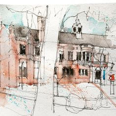 Quick sketch at The Whitworth last week Watercolor Sketchbook, Pen And Watercolor, Watercolor Paintings, Landscape Drawings, Landscape Pictures, Art Drawings, Watercolor Architecture, Architecture Sketchbook, Manchester Art