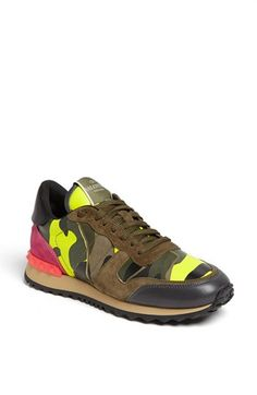 Camo and neon sneakers