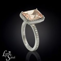 Radiant Cut Morganite Ring Platinum by LaurieSarahDesigns on Etsy, $3351.00