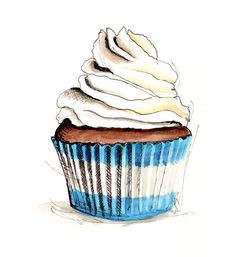 Cupcake Illustration by longbluestraw on Etsy, $14.00