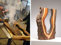 Amazing Glass Blowing Art Molten Glass and Wood Sculpture