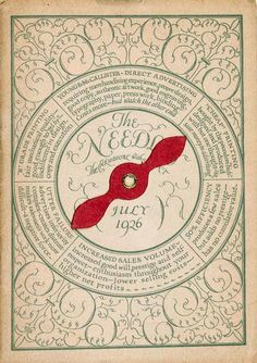 """An """"interactive"""" cover for the magazine The Needle (1946)   Pinned from Letterology (a very entertaining blog)"""