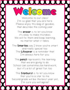 FREE first day of school Welcome poem for second graders