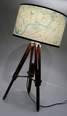 London map drum shade. Fun for sure, but see how the proportions are not quite right, the base of the lamp shade looks smaller than the top of the shade. See our designer notes for why???? www.cabinandcastle.com