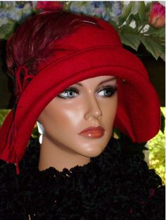 Flapper Hat Cloche Red Wool Felt Roaring20s by ludascrafts on Etsy, $174.99
