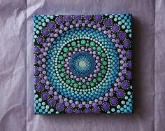 "Hand painted blue and purple mandala on canvas 6"" x 6"" dot pointillism art"