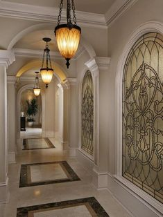 Sparkling Kilim Beige Paint Color Hall Victorian with Crown Molding Stained Glass Pendant Light Potted Plant Marble Floor Glass Windows Design Hall, Flur Design, Victorian Hall, Hall Flooring, Verre Design, Hallway Designs, Tuscan House, Mediterranean Decor, Tuscan Decorating