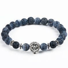 Lion Head Natural Stone Beaded Bracelet [8 Variations]