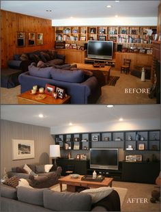 Talk about a really great makeover, on a budget! Look at the Before and Afters of Lynn Bloomer's basement. I love the grey and white ton...