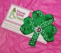 St. Patrick's Day Shamrock (Ribbon Sculpture) - Emerald Green w/ White Dots, Rhinestone Center. $4.25, via Etsy.