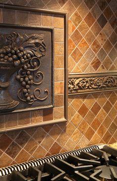 feature tile on cooktop backsplash