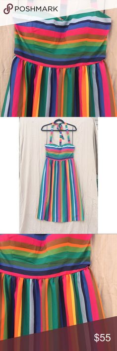 "ModCloth Rainbow Halter Top Circle Skirt Dress This rainbow halter top dress from ModCloth has an empire waist, padded bust cups, POCKETS(!!!), is fully lined, and is 100% Polyester; it also has boning at the sides of the bust! Size: Medium; Bust: 35-36""; Waist: 27-28""; Hips: Free. Fabric provides some stretch. Never worn; perfect condition!! Modcloth Dresses Midi"