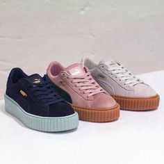 puma by rihanna coral cloud suede creeper trainers