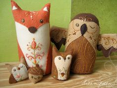 Stuffed Woodland Animals: Fox, Owls, Acorn