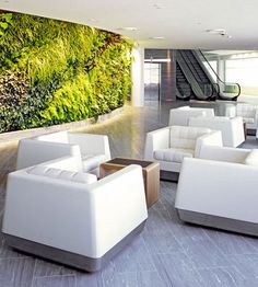 Lounge w/ Green Wall I Quantas Sydney by Marc Newson and Woods Bagot Bar Lounge, Airport Lounge, Destinations, Best Airlines, Garden Living, Inside Design, Outdoor Furniture Sets, Outdoor Decor, Industrial House