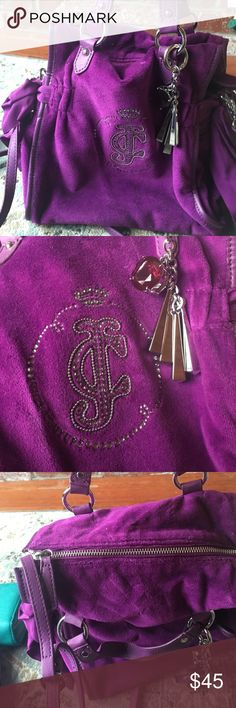 Purple Juicy couture handbag Purple velvet juicy couture handbag. Very lightly used. Beautiful detailing and keychain. Can be worn as a cross body. Make an offer! Juicy Couture Bags Totes