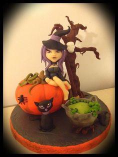 My little witch - by Zuccherina @ CakesDecor.com - cake decorating website