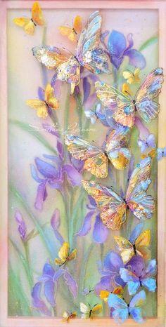 Картины (живопись) : Весна..бабочки..ирисы... Автор Светлана Геннадьевна Логинова