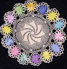 Vintage Crocheted Doily Pinwheel Flowers Variegated Colorful Large Pretty Design