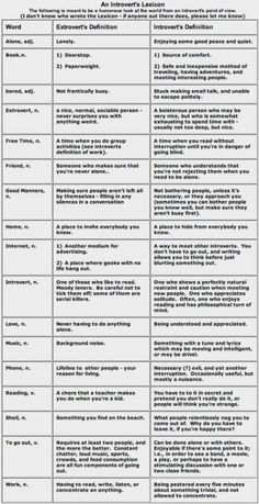 The Introvert's Lexicon by Alaythia.Oh god this is so TRUE. Feels like they kind of pick on extroverts though. Being an extrovert and vice versa does no make you wrong or bad. Their just different personality types and theres a whole spectrum too. Introvert Vs Extrovert, Infj Infp, Istj, Introvert Humor, Introvert Problems, Mbti Personality, It Goes On, Things To Know, 43 Things
