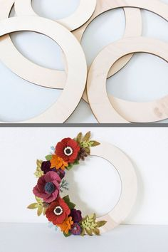 Wood Craft Supplies made from Baltic Birch Plywood Paper Flower Wreaths, Tissue Paper Flowers, Felt Flowers, Flower Crafts, Floral Wreaths, Wood Wreath, Diy Wreath, Diy Arts And Crafts, Felt Crafts