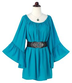 Poet or painter, pirate or princess - this picturesque top inspires your inner romantic. Tunic-length peasant-style top with wide, floaty ruffled sleeves. Irish Clothing, Spring Collection, Ruffle Sleeve, Poet, Clothing Ideas, Everyday Fashion, Boho Fashion, Bell Sleeve Top, Tunic