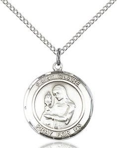 St. Clare of Assisi Pendant (Sterling Silver) by Bliss   Catholic Shopping .com