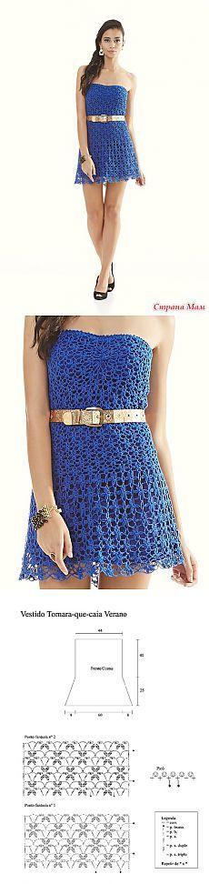 Синее платье - Все в ажуре... (вязание крючком) - Страна Мам