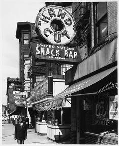 Daytime, Donut - Honey Donut Shop, Neon Signs, Storefronts, Man in Pinstripe Suit, Massachusetts Avenue, Cambridge