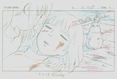 Animation layouts from Hayao Miyazaki's Spirited Away (千と千尋の神隠し). ""