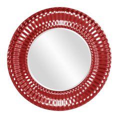"Howard Elliott Sao Paulo Red Mirror 31"" Diameter x 2"""