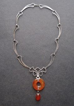 Arts and Crafts Hammered Sterling Carnelian Necklace