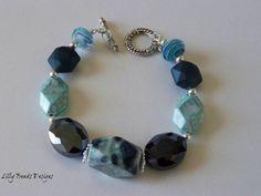 Blue Beaded Bracelet Chunky Beads Bracelet by LillyBeadsDesigns