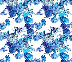 Blueming Flowers! Small  ~ by PeacoquetteDesigns on Spoonflower ~ bespoke fabric, wallpaper, wall decals & gift wrap ~ Join PD  ~ https://www.facebook.com/PeacoquetteDesigns #Spoonflower #Peacoquette