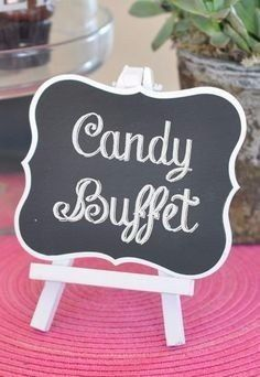 The Framed Chalkboard Table Easels are the perfect way to direct your guests to their seats, whether for a wedding or any special event. Chalkboard signs in a variety of sizes. Chalkboard Table, Framed Chalkboard, Chalkboard Markers, Chalkboard Ideas, Candy Buffet Tables, Candy Table, Dessert Bars, Dessert Table, Table Easel