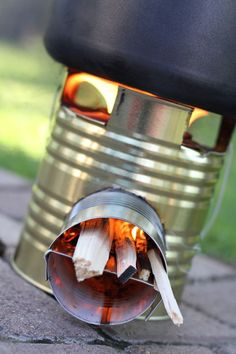 DIY Camping Rocket Stove.  Made something like this in Girl Guides.