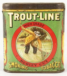 Old Collectible Tins | Trout-Line Smoking Tobacco Pocket Advertising Tin