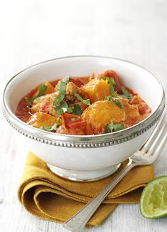 Thai butternut and chicken red curry. Whip up a delicious curry with this dish combining butternut squash, chicken thighs, cherry tomatoes and coconut milk. This Thai recipe couldn't be simpler and is perfect served with coconut rice