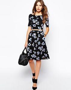 Bardot+Full+Midi+Skirt+In+Water+Floral+Print